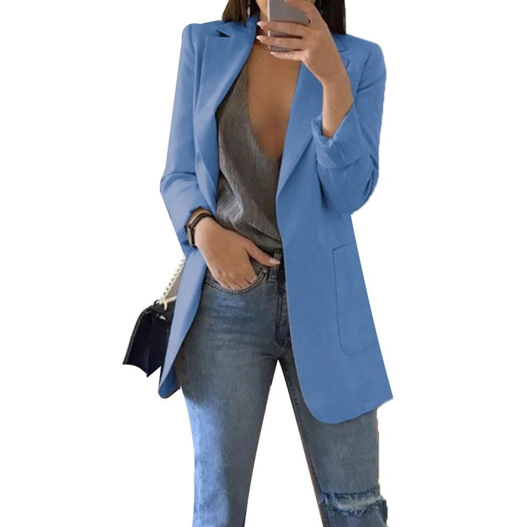 Fashion Women Casual Turn-down Collar Solid Long Sleeve Pocket Blazer Outwear Regular Fit