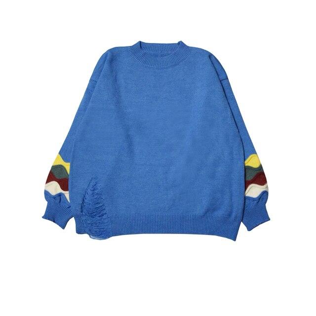 New Women Shirts Loose Knitting Languid Lazy Wind Turtleneck Sweater Blouse Shirt White Green Blue Yellow 1833