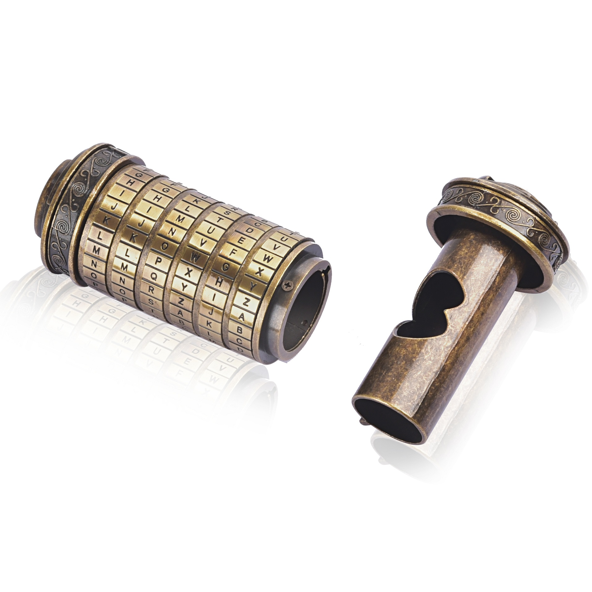 Mini Da Vinci Code jouets en métal Cryptex verrouille des cadeaux de mariage innovants cadeau saint valentin lettre mot de passe accessoires de chambre d'évasion - 4