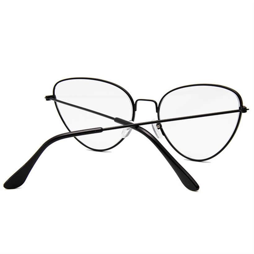 XojoX металлические очки кошачий глаз рамка женские модные очки для близорукостиИгровые очки брендовая дизайнерская Ретро оптическая декоративные очки