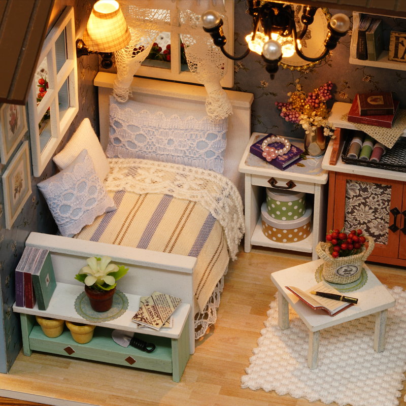 Doll Miniature Wooden House Studio Kit LED Light Furniture DIY Handcraft Toys