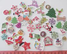 WBNAEN 100pcs wood christmas buttons multisize mix shapes DIY home decor handmade craft supplies