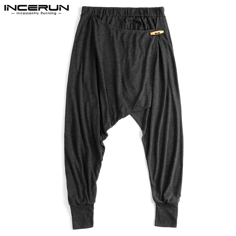 Chic Male Harem Pants Hiphop Baggy Ninja Pants Mens Cross-Pant Loose Fitness Low Drop Crotch Trousers Dance Pantalon Clothing