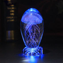 Multicolor Lighting Lamp Hoom Decoration Night Light Crystal Table  Jellyfish 3D LED Rechargeable light D25