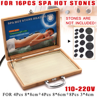 16Pcs Bamboo Natural Energy Massage Hot Stone Heater Kit Carry Case Box 220V 110V Spa Basalt Hot Stones Massage Natural Therapy