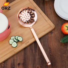 ORZ Rose Gold Kitchen Sieve Food Colander Hanging Long Handle Soup Ladle Spoon Skimmer Strainer Accessories Cooking Tool