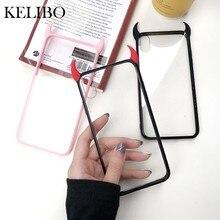 3D luxe diable cornes étui de téléphone pour iPhone 12 Pro SE 7 7plus 8 8plus X XR XS Max mignon noir rouge acrylique couverture arrière Funda