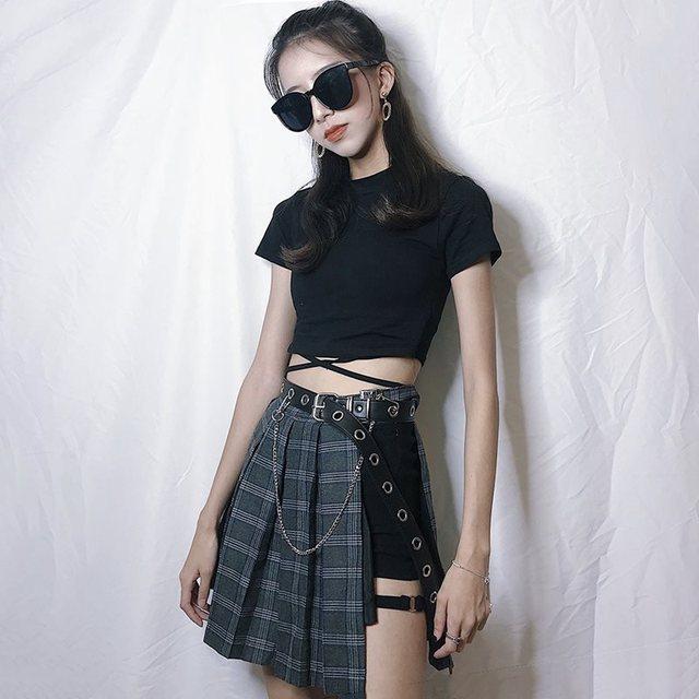 Fashion Gothic Plaid Mini Skirts Women Asymmetric Patchwork Bandage Punk Club Sexy Cool Black Short Skirt And Belt Sets 1