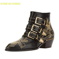 Susanna настоящие кожаные ботильоны женская обувь с острым носком заклепки цветок ботинки martin Для женщин бархатные сапоги zapatos mujer