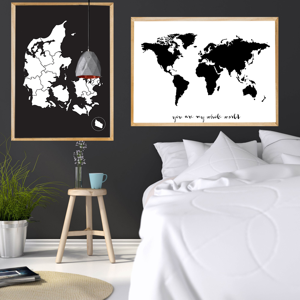 Simple You Are My Whole World Paintings Danmark And World Map Posters And Prints Black & White Wall Art Decor For Home Unframed