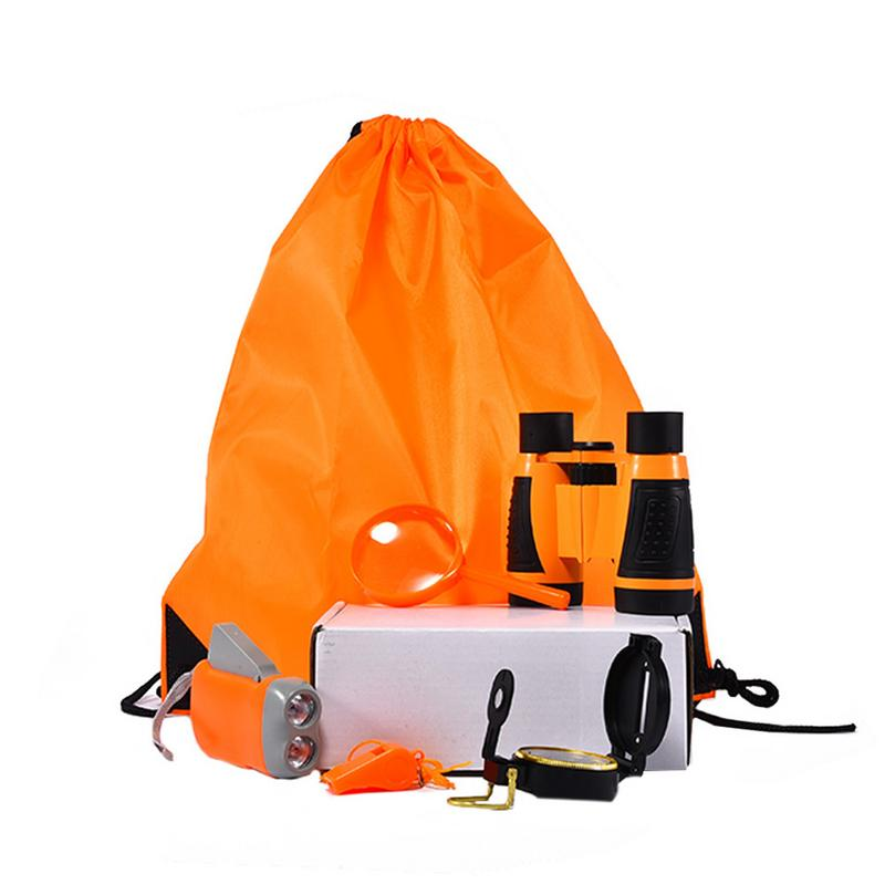 Neueste Kollektion Von Im Freien Exploration Ausrüstung Set Kinder Spielzeug Fernglas Taschenlampe Kompass Pfeife Lupe Rucksack Große GroßE Sorten