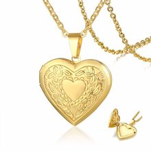 Womens Romantic Floral Embossed Gold Locket Necklace Girls Heart Photo Locket Pendant in Golden Stainless Steel for Girl(China)