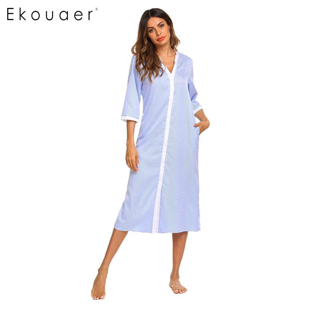 Ekouaer Women V Neck Night Dress   Sleepshirts   Three Quarter Sleeve Single Breasted Striped   Nightgown   Sleepwear Summer Nighties