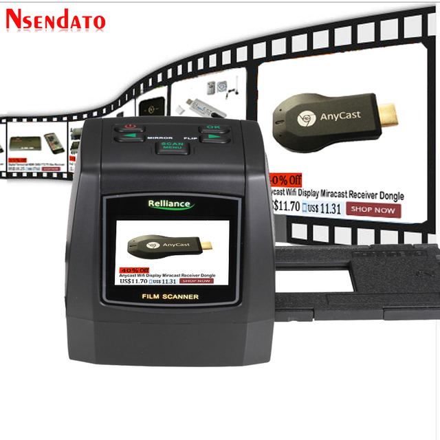 """14MP/22MP High Resolution Photo Foto Film Scanner Convert 35 mm 8 mm Color 2.4"""" LCD Slide Viewer Film Digital Negative Scanner"""