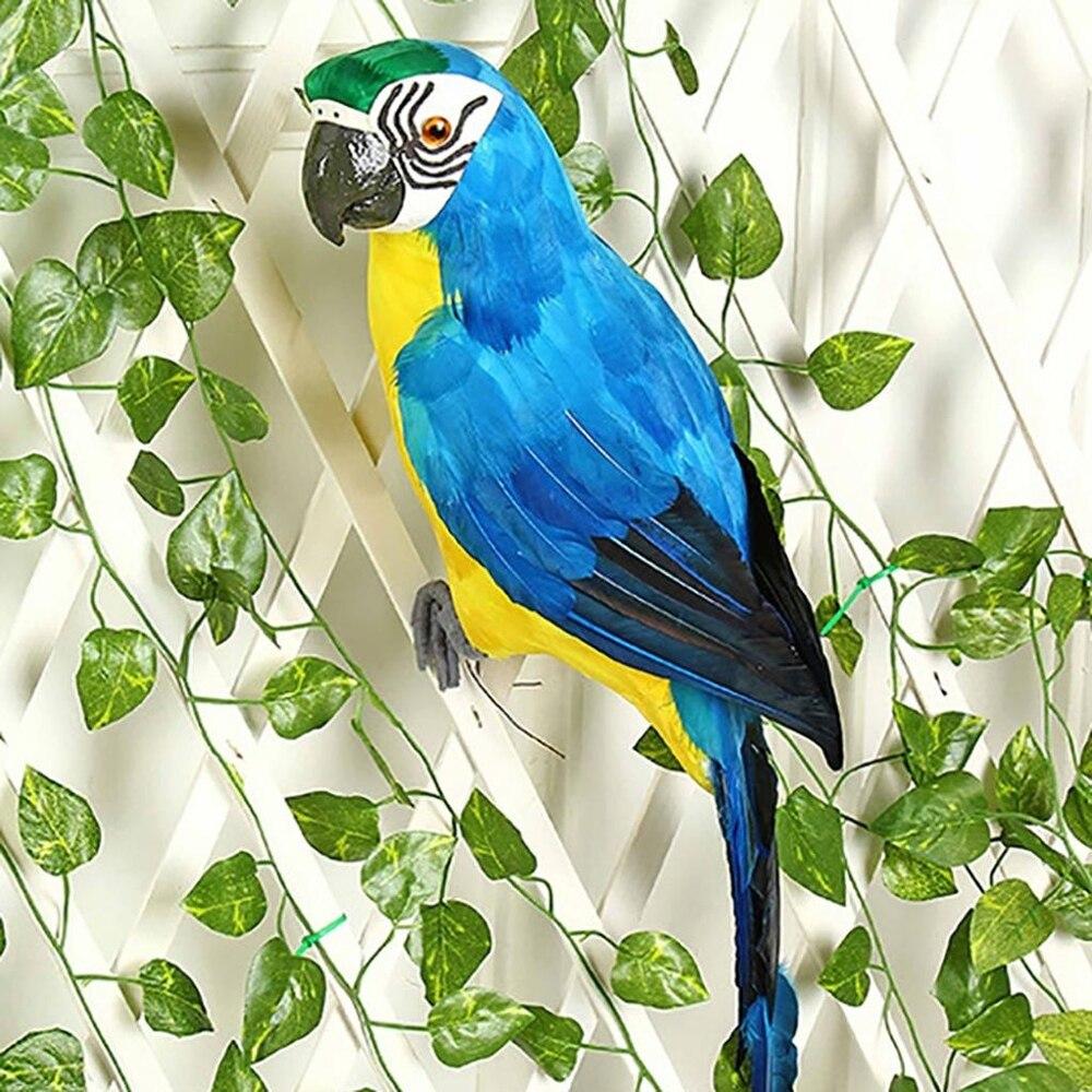 25/35cm simulación hecha a mano loro pluma creativa estatuilla de césped ornamento Animal pájaro jardín pájaro Prop Decoración Bandeja de jardín de semillas de Hidroponia bandeja de semillero de doble capa