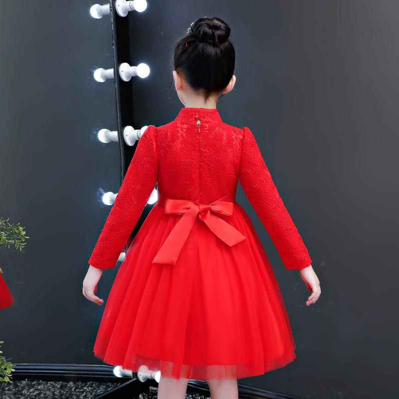 6e9ee2cdd ... Kids Chinese Dress Mandarin Collar Traditional Tang Costume Layered  Mesh Tulle Dresses Red Lace Puff Sleeve ...