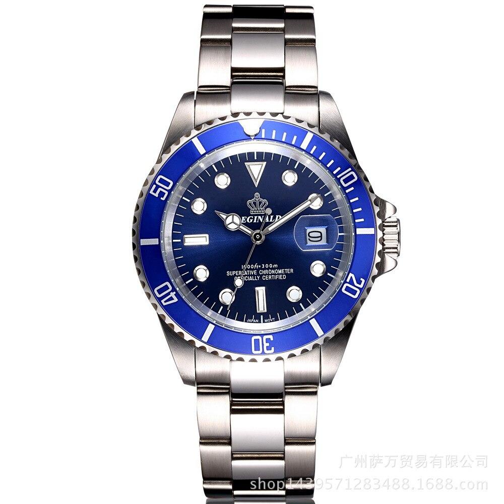 Relógio de Negócios Calendário de Aço Calendário à Prova Relógios de Pulso Reginald Coroa Quartzo Masculino Casual Japão Dwaterproof Água Altura