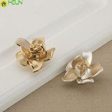 Шампанское золото роза цветок комод ручка круглые ручки для ящиков Ручки для кухонного шкафа дверные ручки ручка для шкафа ручки