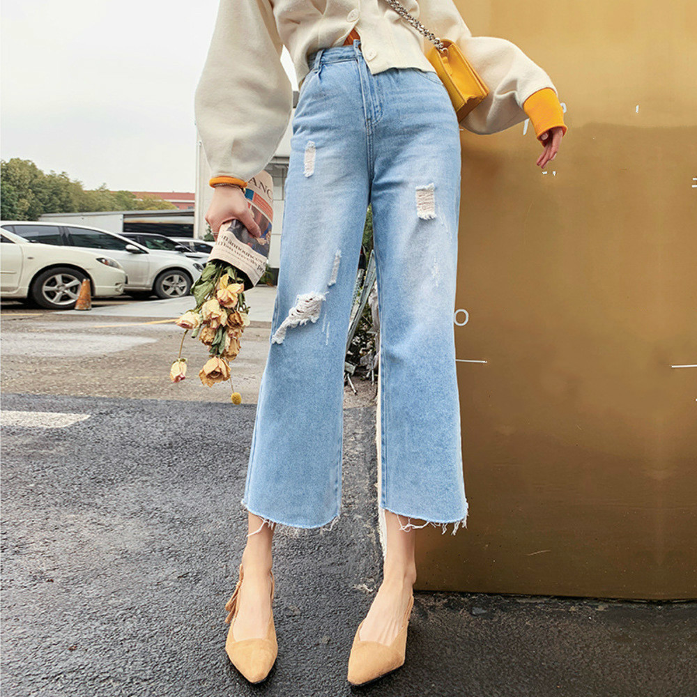 High Waist Jeans Woman Summer Casual Hole Ripped Jeans For Women Vintage Washed Denim Pants Straight Jeans Feminino in Jeans from Women 39 s Clothing