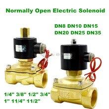 Бесплатная доставка 1/4 «3/8» 1/2 «3/4» 1 «Нормально открытый N/O латунный Электрический электромагнитный клапан 12 В 24 В 220 В пневматический клапан для водяного масла