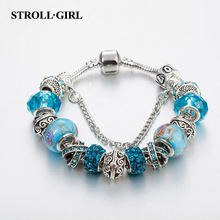 New arrival strollgirl Snake Chain real Silver plating original diy Bracelet luxury Fashion Jewelry making for women&girl gift new arrival 100% real silver bracelet man breacelets buddhism 20cm