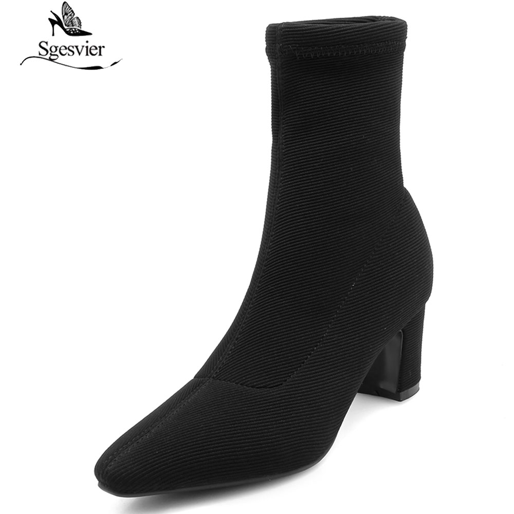 Sgesvier Elegant Women Boots Pointed Toe Slip On High Heels Solid New Knitting Woolen Socks Boots Elastic Ankle Boots B925Sgesvier Elegant Women Boots Pointed Toe Slip On High Heels Solid New Knitting Woolen Socks Boots Elastic Ankle Boots B925