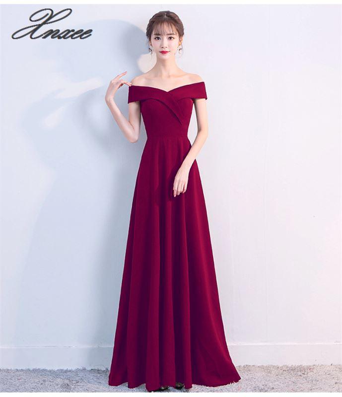 New Dress Elegant Robe A-line Wine Red Long Dress Party Elegant Long Dress2019