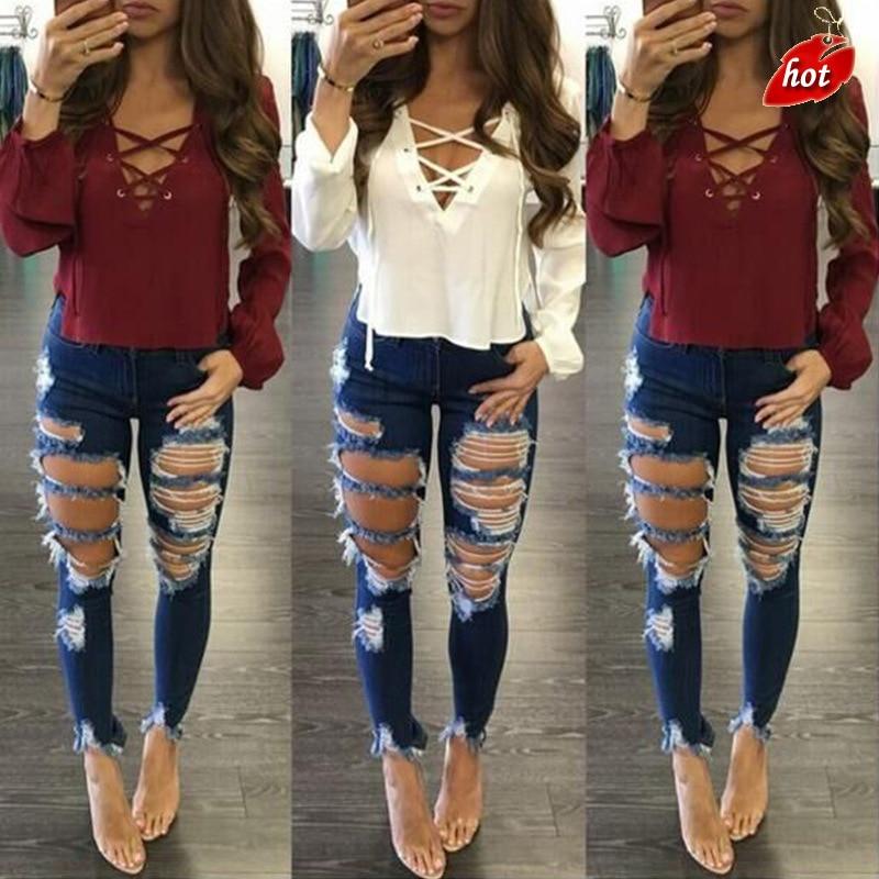 2018 nowy wysokiej talii dziura dżinsy damskie legginsy kolana ołówek spodnie spodnie typu casual Jeans Stretch porwane jeansy Plus rozmiar O8R2 1