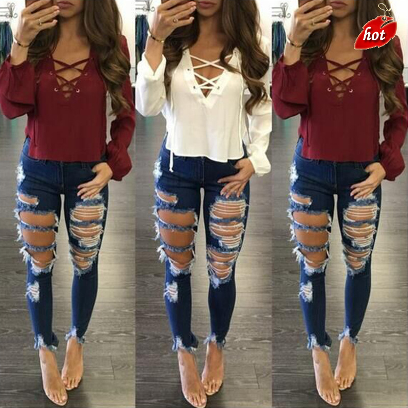 2018 New High Waist Hole Women's Jeans Leggings Knee Pencil Pants Casual Trousers Jeans Stretch Ripped Jeans Plus Size O8R2
