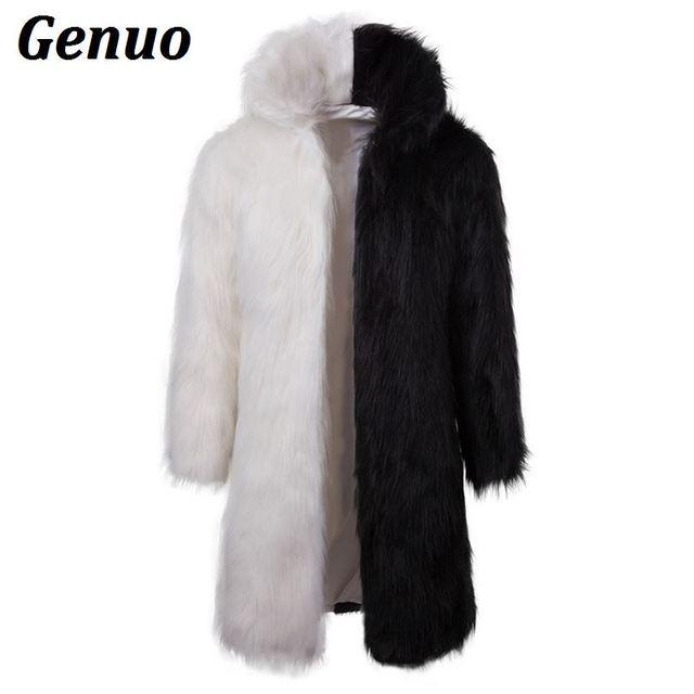 34c29b8b8728cc Genuo Fashion Patchwork Faux Fur Jacket Men 2018 Winter Fluffy Fur Long  Parka Warm Overcoat Male Luxury Fur Coat Outwear 3XL