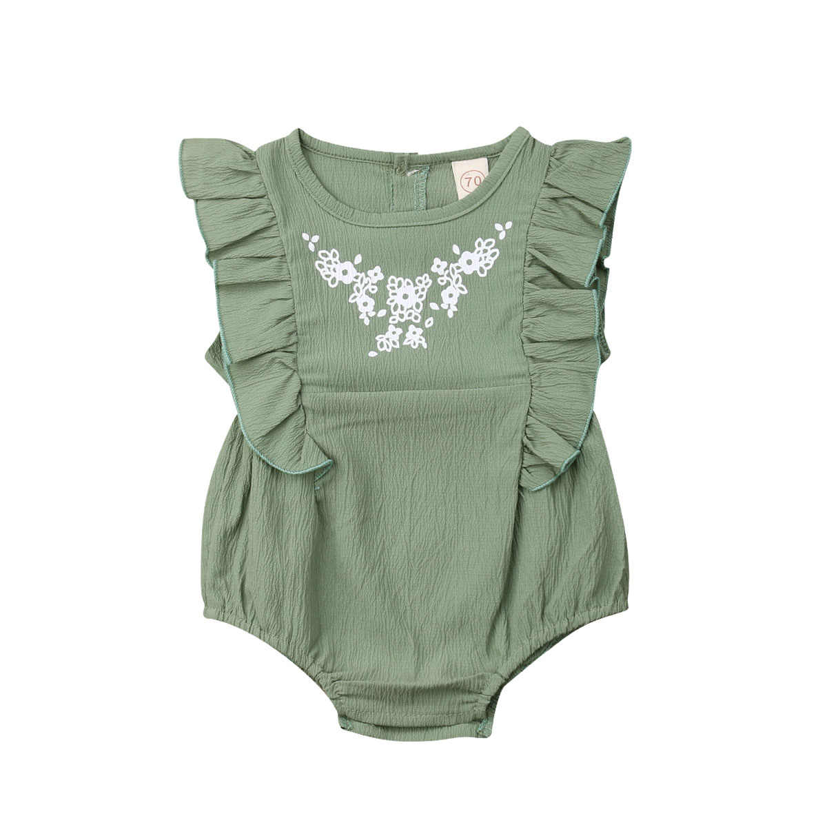 a19c09187e6 Infant Newborn Baby Girls Flower Clothing Ruffles Baby Rompers Vintage  Green Jumpsuit Baby Girl Costumes