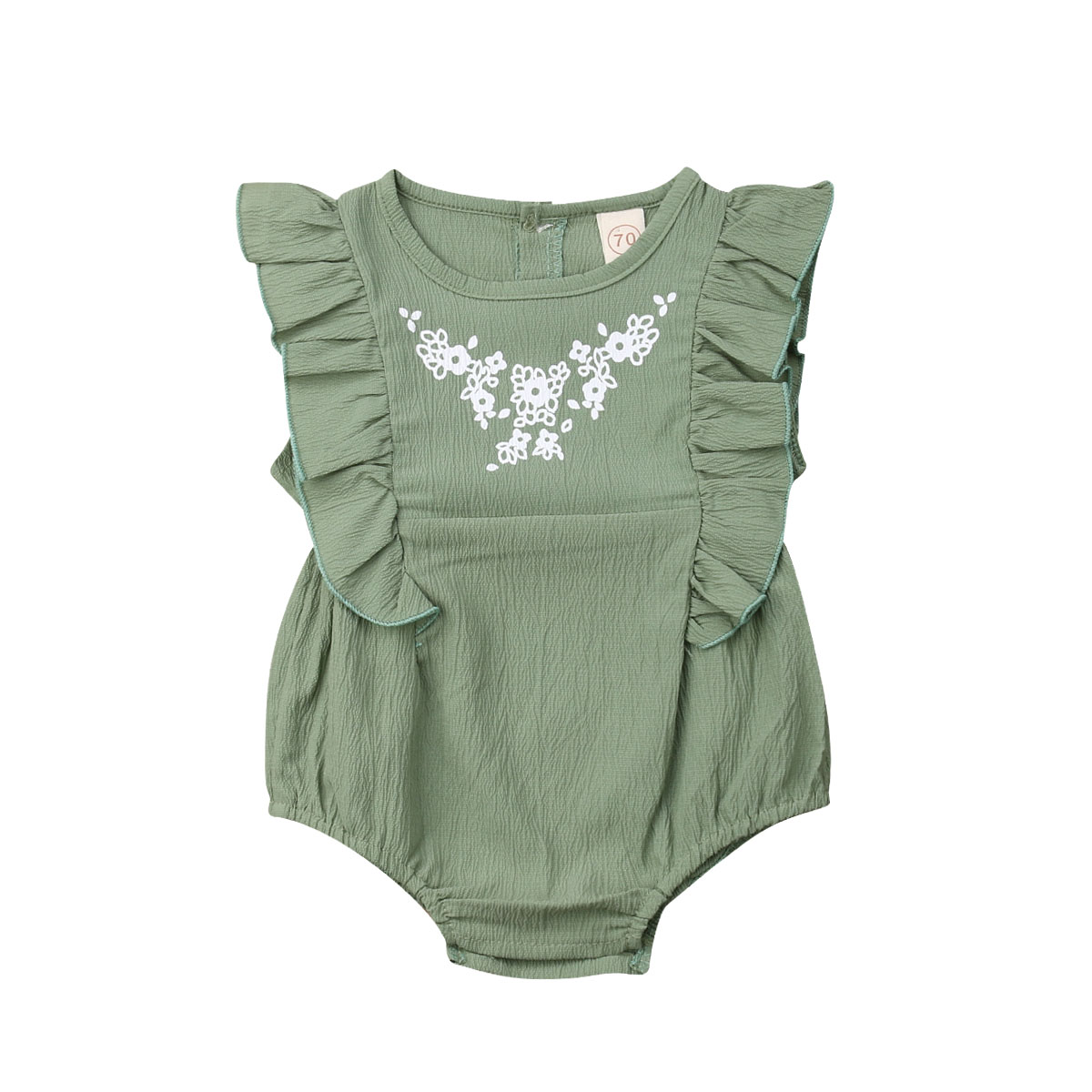 Infant Newborn Baby Girls Flower Clothing Ruffles Baby   Rompers   Vintage Green Jumpsuit Baby Girl Costumes