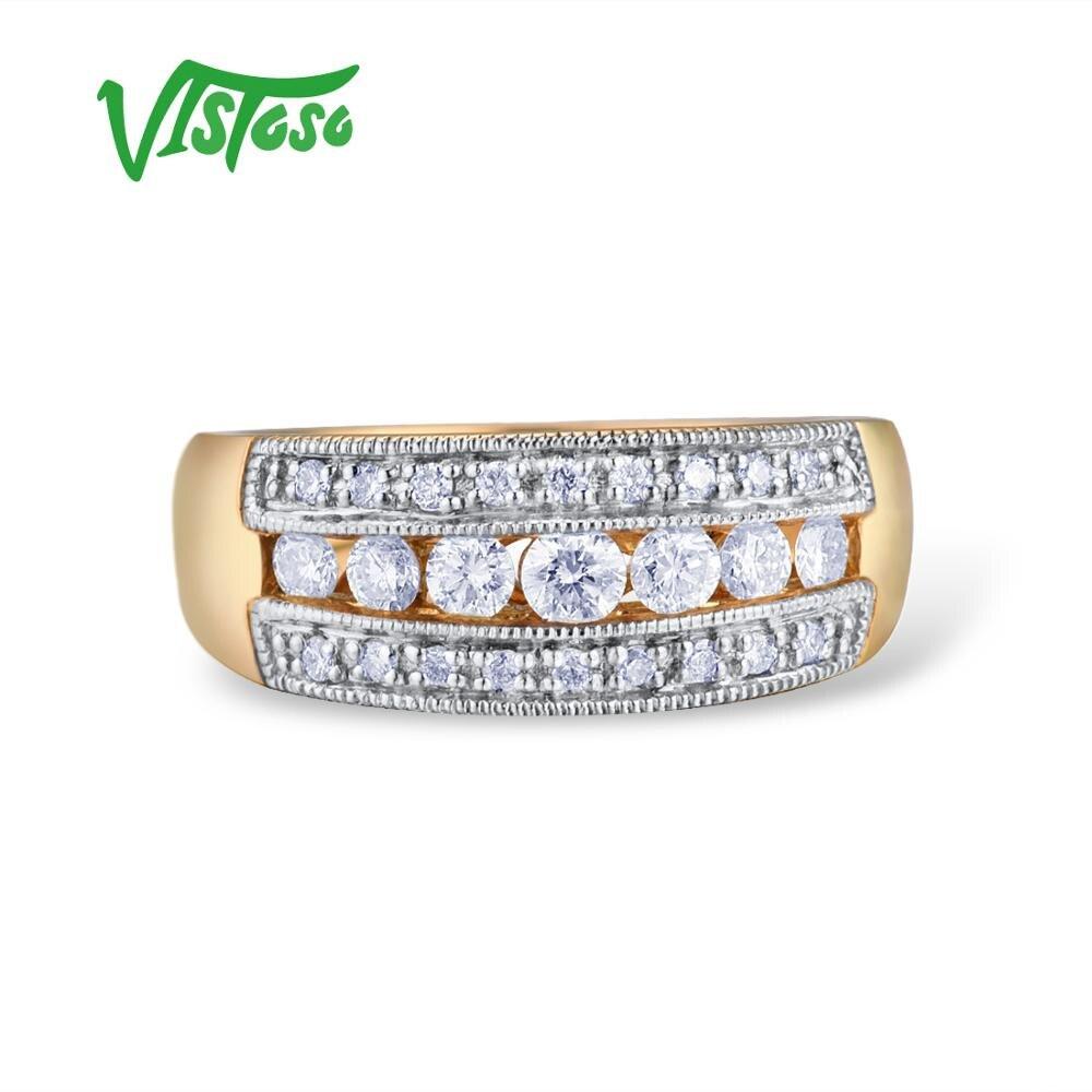 VISTOSO złote pierścienie dla kobiet oryginalne 14K 585 pierścionek z żółtego złota musujące diament luksusowe zaręczyny Wedding Band Fine Jewelry w Pierścionki od Biżuteria i akcesoria na  Grupa 2