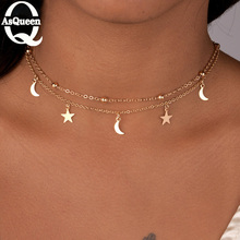 New Fashion Jewelry 2 Layer Star Moon Choker Necklace Nice G