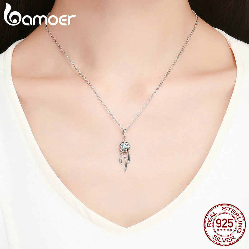 Bamoer подлинный 925 пробы Серебряный богемный кулон в виде Ловца снов Шарм подходит браслет ожерелье серебро DIY ювелирных изделий SCC961