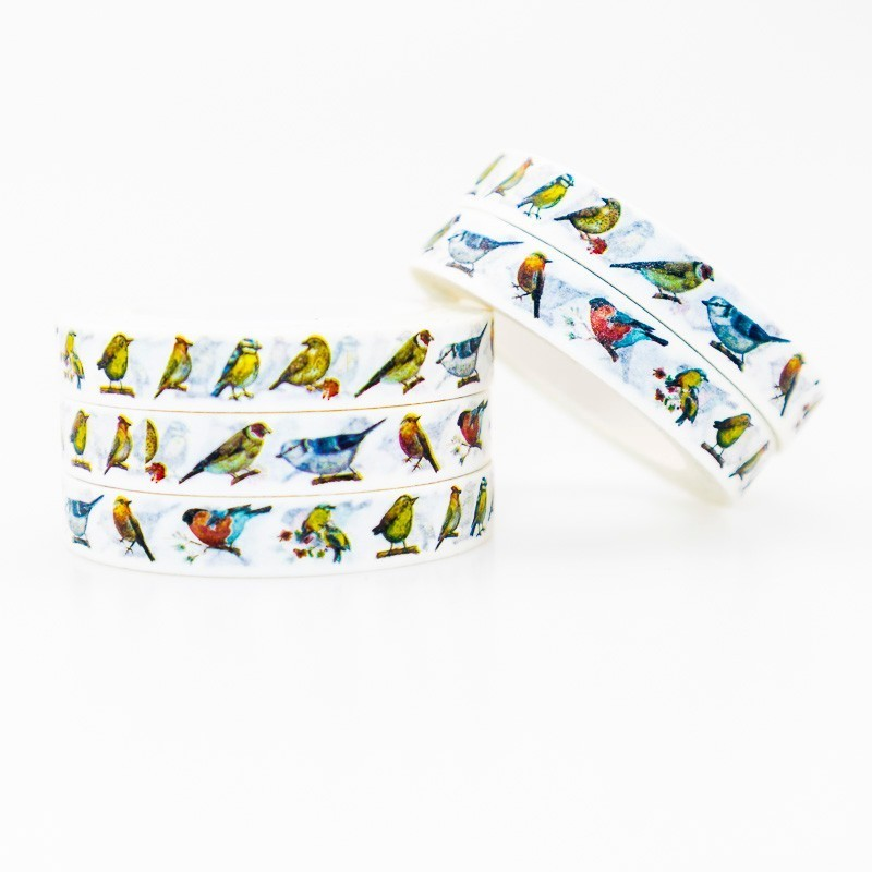 Bird And Finch Pattern Washi Masking Tape Sticky Color Decorative Tape Set DIY Decoration Office Stationery Scrapbook 1PCS