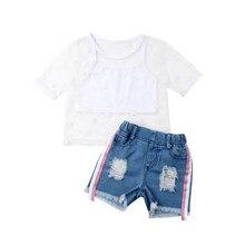 bee545a17e93b 2019 nouveau mode enfant en bas âge enfants filles à manches courtes étoile  transparent t-shirts hauts déchiré Denim Shorts Jean.
