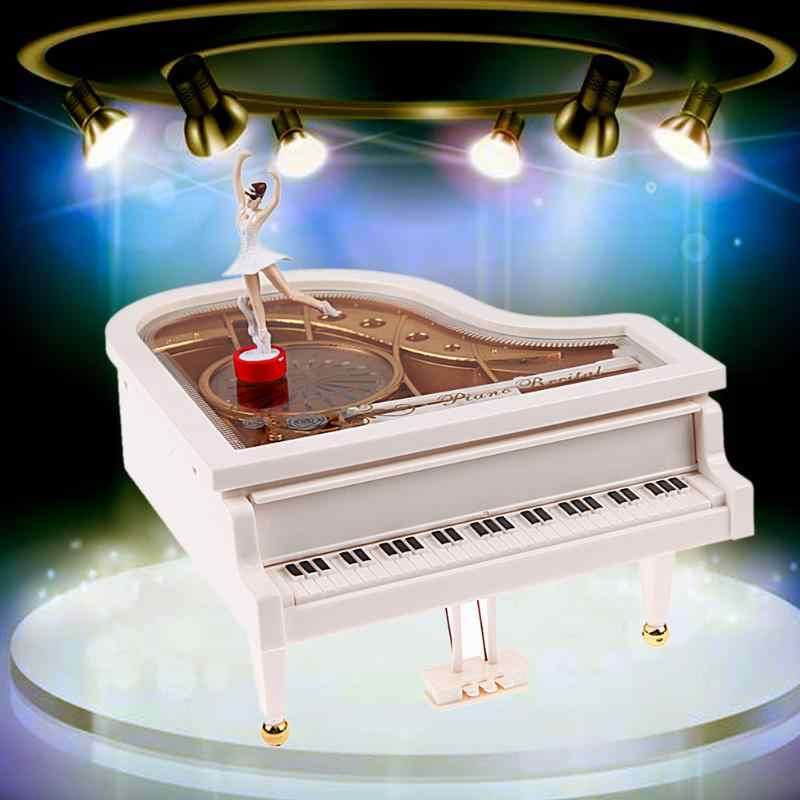 Caixa de música de piano caixa de música tipo rotativo clássico do vintage bailarina menina caixa de música piano modelo de ração menina caixas de música