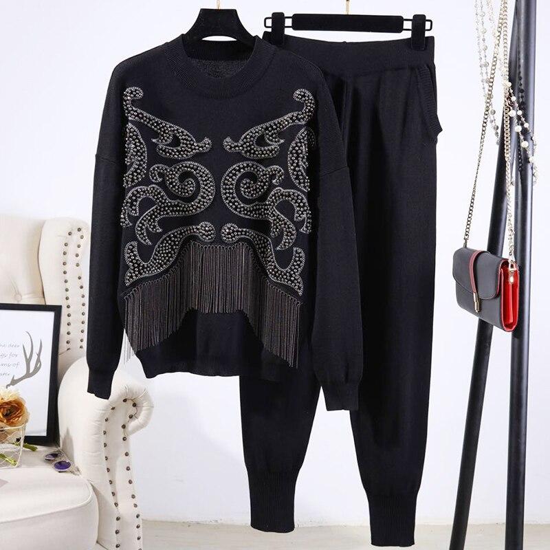 Okq127 Casual Longues 2 Gland Pantalon Femmes Pièces Sportwear Chandail Manches Printemps Tricoté Gray black Perles À Costume 2019 Ensemble Survêtement pqnRTP6