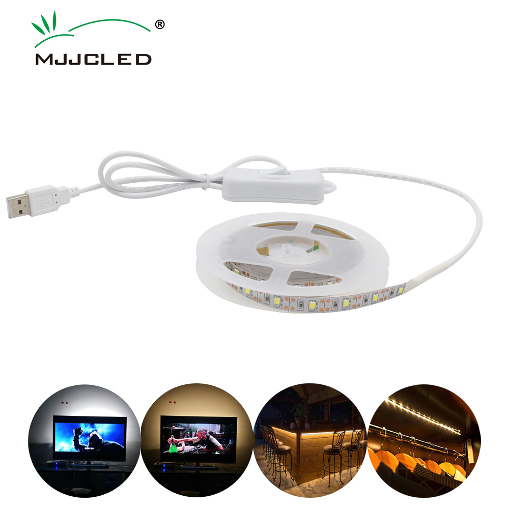 LED Strip USB Lamp DC 5V SMD 2835 Waterproof Tira LED USB 50CM 1M 2M 3M 5M Strip Light With Switch For Desktop Screen Lighting