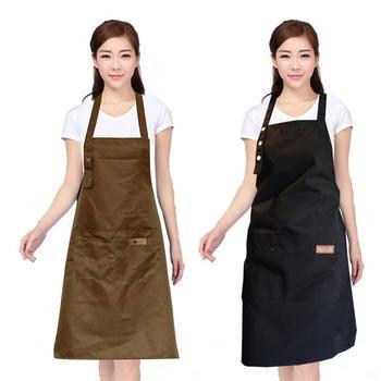 Della Tela Di Canapa Grembiule Con 2 Grandi Tasche Per Il Tè Del Latte Di Caffè Negozio Di Cottura Ristorante Nail Salon Casa