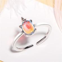 2019 Korean fashion 925 sterling sliver animal unicorn moonstone crystal ring adjustable female women jewelry free shipping