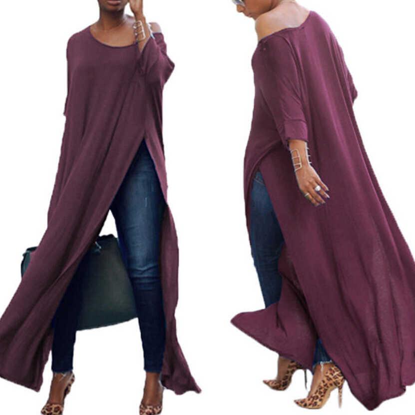 秋レディースセクシーなブラウス長袖オフショルダー綿固体スプリットトップスブラウス女性 blusas カジュアルロングシャツ