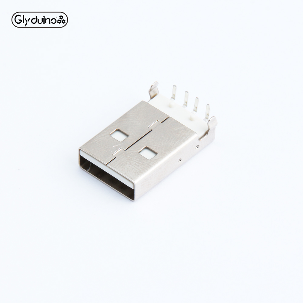 Glyduino 10PCS White USB A Male USB Plug Connector Plate Inserted 90 Degrees Curved Needle Plate
