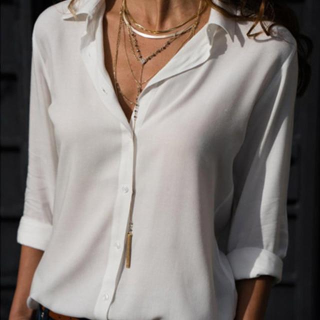 Gentillove-Blusa de manga larga de chifón para verano, camisa elegante con cuello en V de talla grande 3XL para mujer, 2019 4