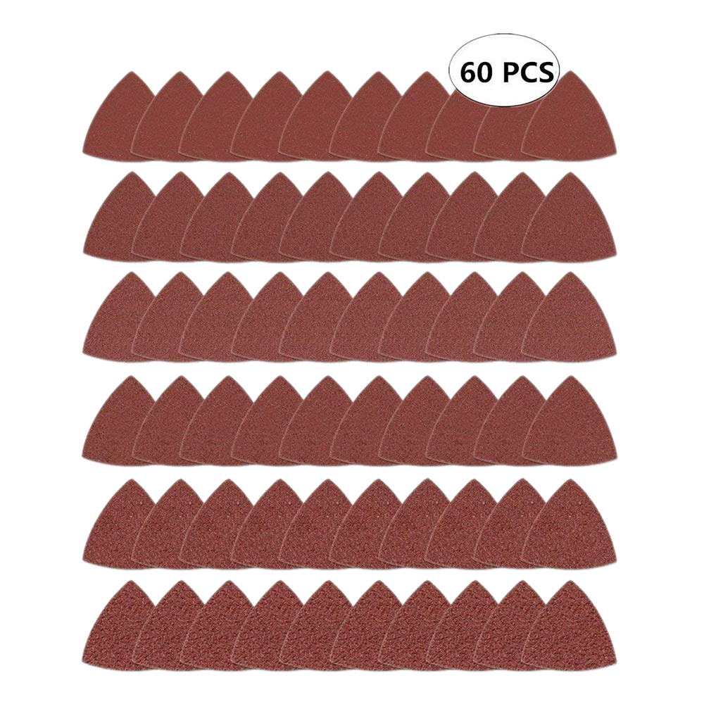 HLZS-60pcs Triangular Hook And Loop Triangle-Sandpaper, Fit 3-1/8 Inch Oscillating Multi Tool Sanding Pad, Assorted 40 60 80 1