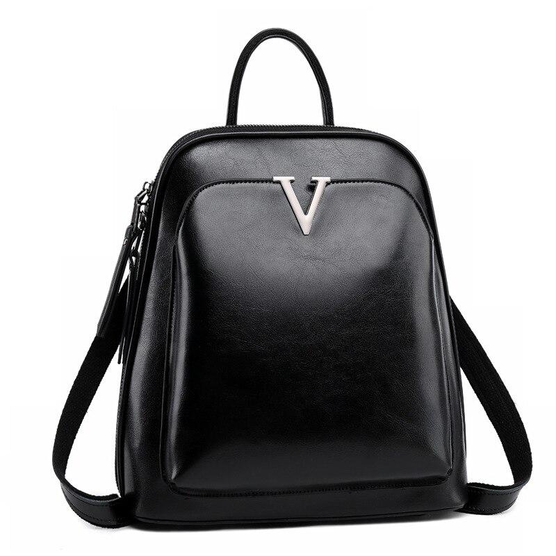 Nouveau-huile cire cuir dames sac à dos sac à bandoulière en cuir école sac à dos mode rétro femme sac à dos