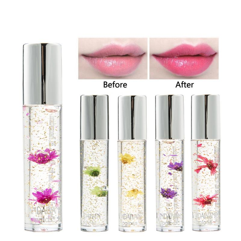 5 Colors Flower Lipgloss Gold Foil Temperature Color Change Lip Gloss Moisture Crystal Transparent Lipstick 40 1