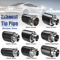 Universal 2inch 2.5inch 3inch Glossy Black Carbon Fiber Car Exhaust Rear Tip Pipe Muffler Multiple Sizes