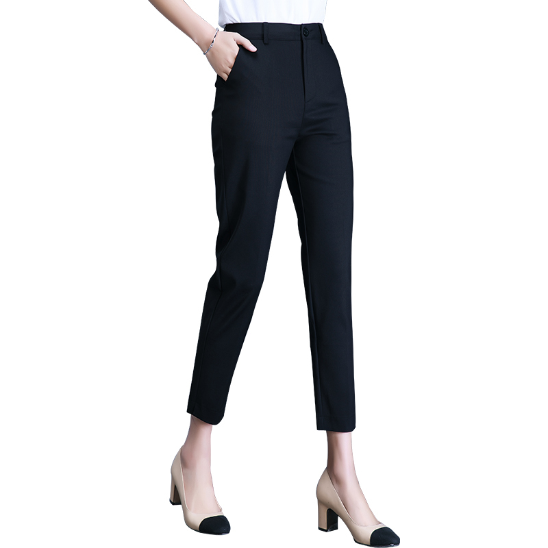 Spring Summer Women High Waist Elastic Straight Pants Casual Chffion OL Lady Ankle length Trouser Plus Size 4XL in Pants amp Capris from Women 39 s Clothing